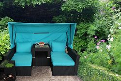 JETIME Outdoor 7PCs Patio Couch with Awning Garden Woven Rattan Furniture PE Wicker Sectional So ...