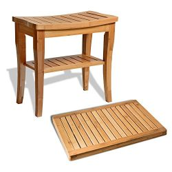 Bamboo Shower Seat Bench with Bathroom Floor Mat for Indoor and Outdoor Decor, Made of Natural M ...