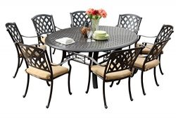 Darlee 201630-9PC-99LD Ocean View Cast Aluminum 9 Piece Round Dining Set and Cushions, 71″ ...