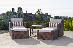 Solaura Outdoor 5-Piece Lounge Chair & Ottoman Furniture Set All Weather Brown Wicker with B ...