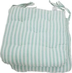 Melange 100% Cotton Round Square 16″ x 16″ Chair Cushions, Set of 2, Green Stripes