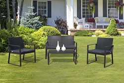 PATIOROMA 4 Pieces Patio Furniture Set Rattan Wicker Table and Chairs with Grey Seat Cushions, O ...