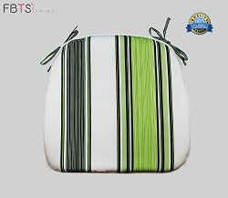 FBTS Prime Chair Cushion 16 x 17 Inches Indoor/Outdoor Seat Pads Square (Set of 2, Green, Stripe ...