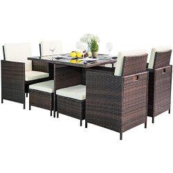 Leisure Zone 9-Piece Outdoor PE Rattan Wicker Patio Dining Table Set Garden Outdoor Patio Furnit ...