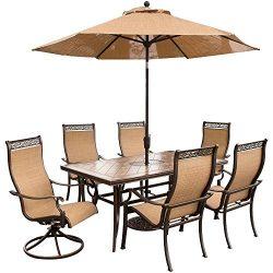 Hanover Outdoor Furniture 7 Piece Monaco High Back Sling Dining Set with Umbrella, Tan/Bronze