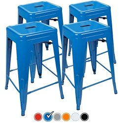"""24"""" Counter Height Bar Stools,! (BLUE) by UrbanMod, [Set Of 4] Stackable, Indoor/Outdoor, Kitche ..."""