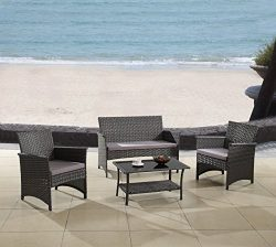 Modern Outdoor Garden, Patio 4 Piece Seat – Gray, Espresso Wicker Sofa Furniture Set (Grey)