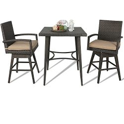 Ulax furniture Outdoor Patio Wicker Bar Set with Cushioned Swivel Stools, Bar Table x 1, Stool x ...