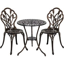 Vanteriam Outdoor Patio Furniture Cast Aluminum 3 Piece Bistro set in Bronze- Two Chairs and One ...