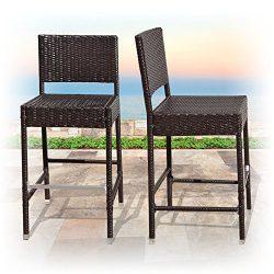 BenefitUSA Outdoor Wicker BarStool Patio Furniture All Weather Dining Chairs Bar Stool, Dark Cof ...