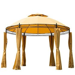 Outsunny 11.5′ Metal Round Dome Patio Gazebo Soft Top with Privacy Curtains