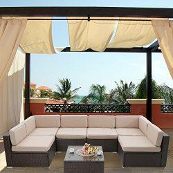 Captiva Designs 7-Piece Patio Wicker Sectional Furniture Set-Outdoor Rattan Sofa Set