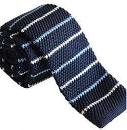 Gazebo Green Classic Retro Knit Skinny Necktie (Navy/Lt.Blue/White Stripes)