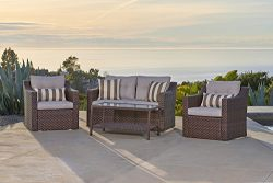 Solvista Outdoor Fully Woven 4-Piece Conversation Furniture Set All Weather Brown Wicker with Be ...