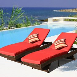 Sundale Outdoor 2PCS Deluxe Patio Adjustable Wicker Chaise Lounge Set with Cushions and 2 Throw  ...