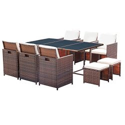 Homall 11 PCS Patio Furniture Dining Set Patio Wicker Rattan Table and Chairs Set Outdoor Furnit ...
