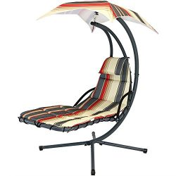 Sunnydaze Modern Lines Floating Chaise Lounger Swing Chair with Canopy Umbrella, 43 Inch Wide x  ...