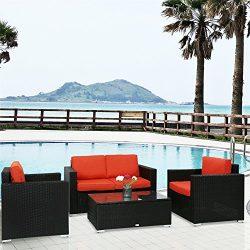 Peach Tree 4 PCs Outdoor Patio PE Rattan Wicker Sofa Sectional Furniture Set with Tea Table, Orange