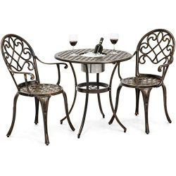 Best Choice Products Cast Aluminum Patio Bistro Table Set w/Attached Ice Bucket, 2 Chairs &#8211 ...