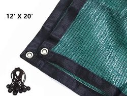 70% 12ft X20ft Green Sunblock Shade Cloth with Grommets for Plant Cover Greenhouse,Barn,Kennel,  ...