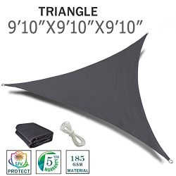 "SUNNY GUARD 9'10"" x 9'10"" x 9'10"" Charcoal Triangle Sun Shad ..."
