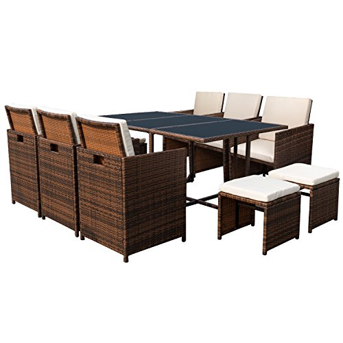 devoko 11 pieces patio dining sets outdoor space saving rattan chair patio furniture sets. Black Bedroom Furniture Sets. Home Design Ideas