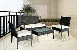 Patio Outdoor Balcony Furniture 4Pcs Small Sofa Set (White)