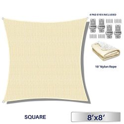 Windscreen4less 8′ x 8′ Square Sun Shade Sail – Beige with White Strips Durabl ...