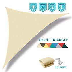 SoLGear 12'x12'x17′ Right Triangle Beige UV Block Sun Shade Canopy Perfect for ...