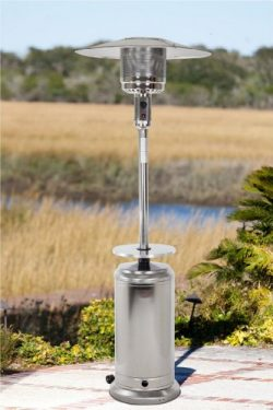 Golden Flame 46,000 BTU [XL-Series] Stainless Steel Patio Heater w/Drink Table and Wheels (Propane)