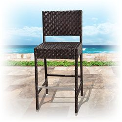BenefitUSA Outdoor Wicker BarStool Patio Furniture All Weather Dining Chairs Bar Stool, Dark Cof ...