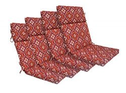 Bossima Indoor/Outdoor Red Damask High Back Chair Cushion, Set of 4,Spring/Summer Seasonal Repla ...