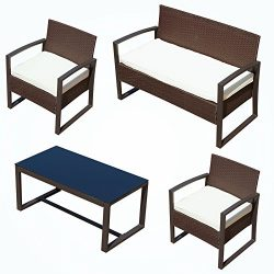 ORKAN 4PC Outdoor Rattan Wicker Patio Sofa & Table Furniture Set Cushioned Lawn Garden BROWN