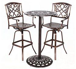 HOMEFUN Outdoor Swivel Bar stools Bistro Pub Table Set Cast Aluminum Bar Height Patio Set of 3(A ...
