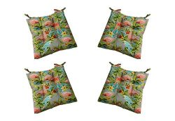 Set of 4 – Indoor / Outdoor Waverly Elegant Tropical Platinum Flamingo Universal Tufted Se ...