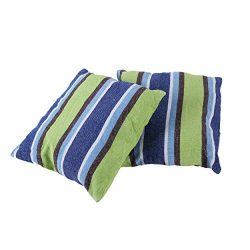 2 Pack 18×18 Pillow Cushions – Blue and Green Striped – Best Used For Hammocks, ...