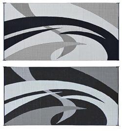 Reversible Mats 159181 Black/White 9'x18′ Swirl Pattern Mat