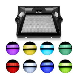 Solar Light Outdoor AGM Upgrade Solar Powered Color Led with Dual-headed Motion Sensor+IPX65 Sup ...
