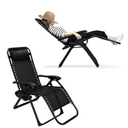 EZcheer Zero Gravity Chair, Supports 330 lbs Heavy Duty Patio Lounge Chair,Comfortable Outdoor C ...