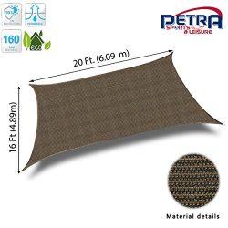 Petra Outdoor Petra's 20 Ft. X 10 Ft. Rectangle Sun Sail Shade. Durable Woven Outdoor Pati ...