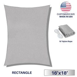 Windscreen4less Sun Shade Sail for Outdoor Patio Backyard UV Block Awning with Steel D-rings 16f ...