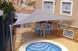 Belle Dura Light Grey 16'x16'x16′ Triangle Sun Shade Sails UV Block for Shelte ...
