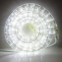 24 Ft. Plugin Rope Lights, 287 Cool White LEDs, Connectable, Dimmable, Waterproof, Indoor/Outdoo ...