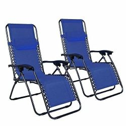 Z ZTDM 2 Pack Blue Adjustable Folding Zero Gravity Recliner Chairs Lounge Deck Chair With Pillow ...