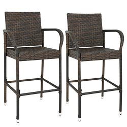 ZENY Wicker Barstool Set of 2 Patio Outdoor All Weather Pool Furniture Brown Bar Stool