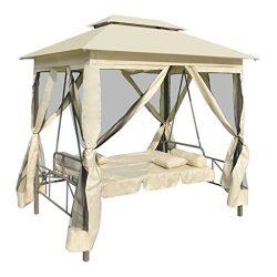 vidaXL Patio Outdoor Gazebo Swing Canopy Hammock Seat Sunbed Sofa Curtains Cream White