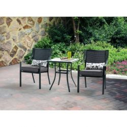3-Piece Outdoor Bistro Set, Seats 2 in Gray