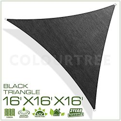 ColourTree 16′ x 16′ x 16′ Sun Shade Sail Triangle Black Canopy Awning Shelter ...