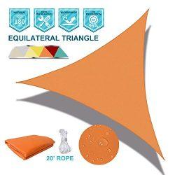 SoLGear Waterproof UV Block 12'x12'x12′ Sun Shade Sail Canopy Triangle 180 GSM ...