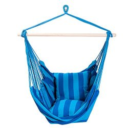 SUNMERIT Hanging Rope Hammock Chair Swing Seat for Indoor or Outdoor Spaces,275 lbs Capacity,2 S ...